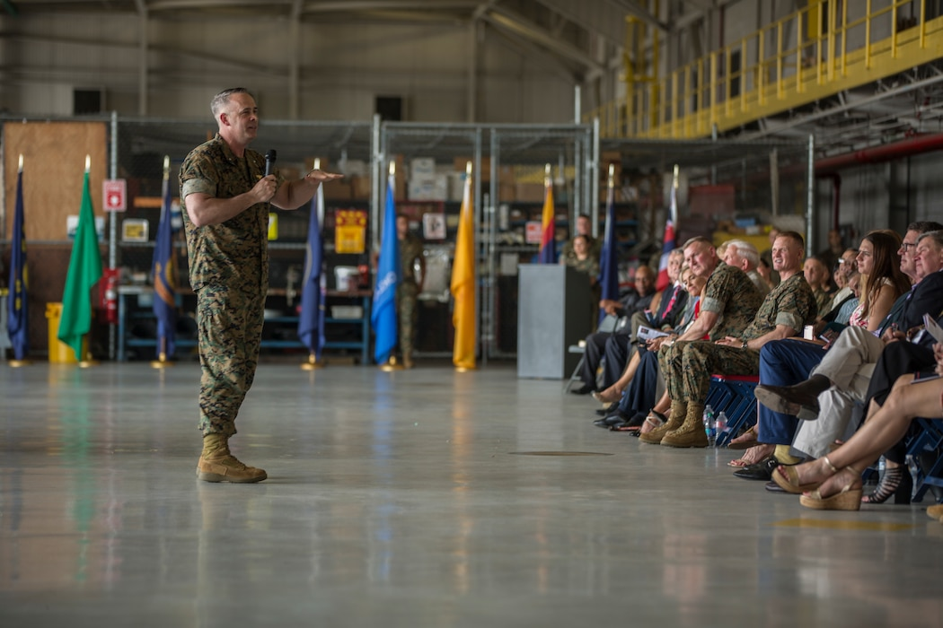 Brig. Gen. Timothy L. Adams, commanding general, 4th Marine Aircraft Wing, addresses the audience at the 4th MAW change of command ceremony at Naval Air Station Joint Reserve Base New Orleans on April 13, 2019. Maj. Gen. Bradley S. James, commander, Marine Forces Reserve and Marine Forces North, exchanged command of 4th MAW with Brig. Gen. Timothy L. Adams after holding all three billets in an interim status. (U.S. Marine Corps photo by Lance Cpl. Preston L. Morris)