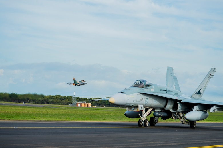 A U.S. Air Force F-16 Fighting Falcon assigned to the 18th Aggressor Squadron (AGRS) based out of Eielson Air Force Base, Alaska, takes off from Royal Australian Air Force Base Williamtown during Diamond Shield 2019, March 26, 2019. Diamond shield brings U.S. and Australian air force units together to support joint operations as part of the RAAF Air Warfare Instructor Course (AWIC). Similar to weapons school for U.S. Air Force pilots, the AWIC trains Airmen on valuable tactics, techniques and procedures necessary for aerial operations. Diamond Shield aims to test AWIC students as well as provide an opportunity to integrate with U.S. Air Force assets and Airmen. The AGRS provides the premiere adversary support necessary to test the students ability during Diamond Shield. (U.S. Air Force photo By Senior Airman Isaac Johnson)