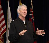 NAVSEA Commander Vice Admiral Moore talks work-life balance, independent technical authority, high velocity learning during visit to NUWC Division Newport