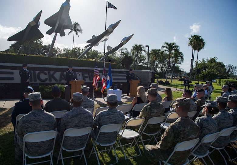 Col. Halsey Burks, 15th Wing commander, gives the opening comments during a memorial service held for retired Master Sgt. Byram Bates at the Missing Man Memorial on Joint Base Pearl Harbor-Hickam, Hawaii, April 12, 2019. The memorial service gave Airmen an opportunity to recognize and remember Bates, and his actions during the attack on Dec. 7, 1941. (U.S. Air Force photo by Tech. Sgt. Heather Redman)