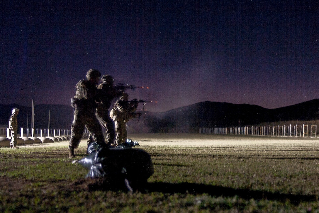 Several soldiers fire weapons on an outdoor range at night.