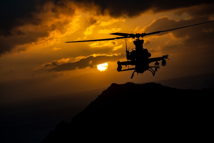 An AH-1Z Viper helicopter with Marine Light Attack Helicopter Squadron (HMLA) 367 conducts a memorial flight in memory of Capt. Travis W. Brannon, Oahu, Hawaii, Apr. 12, 2019. Capt. Brannon, HMLA-367 and Maj. Matthew M. Wiegand, Marine Aviation Weapons and Tactics Squadron One, were killed as a result of an AH-1Z Viper helicopter crash aboard Marine Corps Air Station Yuma training grounds, March 30, 2019, during routine training at the semi-annual Weapons and Tactics Instructor Course hosted by MAWTS-1. (U.S. Marine Corps photo by Sgt. Alex Kouns)