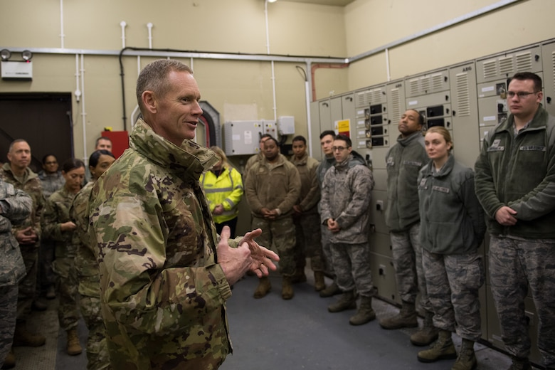 Maj. Gen. James Dawkins Jr., Eighth Air Force and Joint-Global Strike Operations Center commander, speaks with members of the Bomber Task Force logistics readiness team at RAF Fairford, England, April 4, 2019. Dawkins visited different sections of the base during U.S. Strategic Command's Bomber Task Force in Europe to talk to Airmen and address any questions they had. (U.S. Air Force photo by Airman 1st Class Tessa B. Corrick)