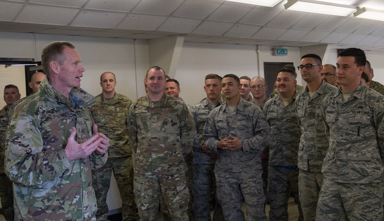 Maj. Gen. James Dawkins Jr., Eighth Air Force commander and Joint-Global Strike Operations Center commander, speaks with Airmen of the Bomber Task Force maintenance team at RAF Fairford, England, April 4, 2019. Dawkins visited more than 10 different facilities on base speaking with Airmen and getting a first-hand look at what Fairford has to offer. (U.S. Air Force photo by Airman 1st Class Tessa B. Corrick)