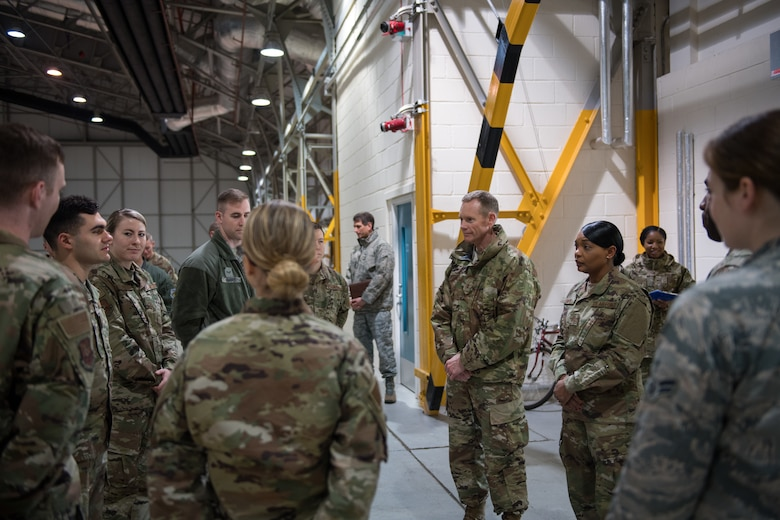 Airmen from the 2nd Operations Support Squadron deployed from Barksdale Air Force Base, La., brief Maj. Gen. James Dawkins Jr., Eighth Air Force and Joint-Global Strike Operations Center commander at RAF Fairford, England, April 4, 2019. The Airmen provided insights on how they successfully got their job done during the U.S. Strategic Command Bomber Task Force in Europe. (U.S. Air Force photo by Airman 1st Class Tessa B. Corrick)