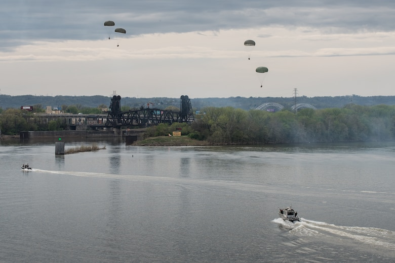 Recovery teams from the Kentucky Air National Guard prepare to retrieve cargo bundles from the Ohio River after an air-drop demonstration as part of the Thunder Over Louisville airshow in Louisville, Ky., April 13, 2019. Hundreds of thousands of spectators turned out to view the annual event, which has grown to become one of the largest single-day air shows in North America. (U.S. Air National Guard photo by Dale Greer)