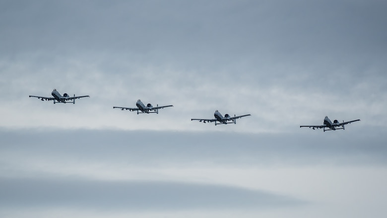 A team of U.S. Air Force A-10 Thunderbolt II aircraft approach the show box over the Ohio River during the Thunder Over Louisville airshow in Louisville, Ky., April 13, 2019. The Kentucky Air National Guard once again served as the base of operations for military aircraft participating in the annual event, which has grown to become one of the largest single-day air shows in North America. (U.S. Air National Guard photo by Dale Greer)