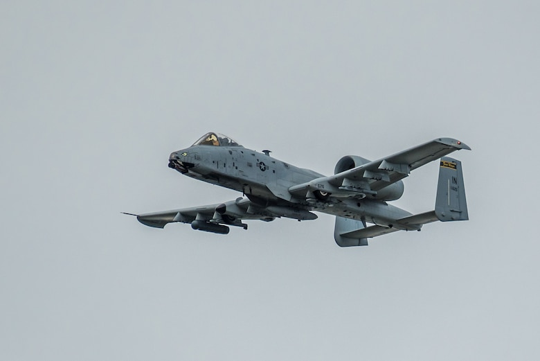 An A-10 Thunderbolt II aircraft from the Indiana Air National Guard's 163rd Fighter Squadron performs an aerial demonstration over the Ohio River April 13, 2019, as part of the Thunder Over Louisville airshow in Louisville, Ky. The Kentucky Air National Guard once again served as the base of operations for military aircraft participating in the annual event, which has grown to become one of the largest single-day air shows in North America. (U.S. Air National Guard photo by Dale Greer)