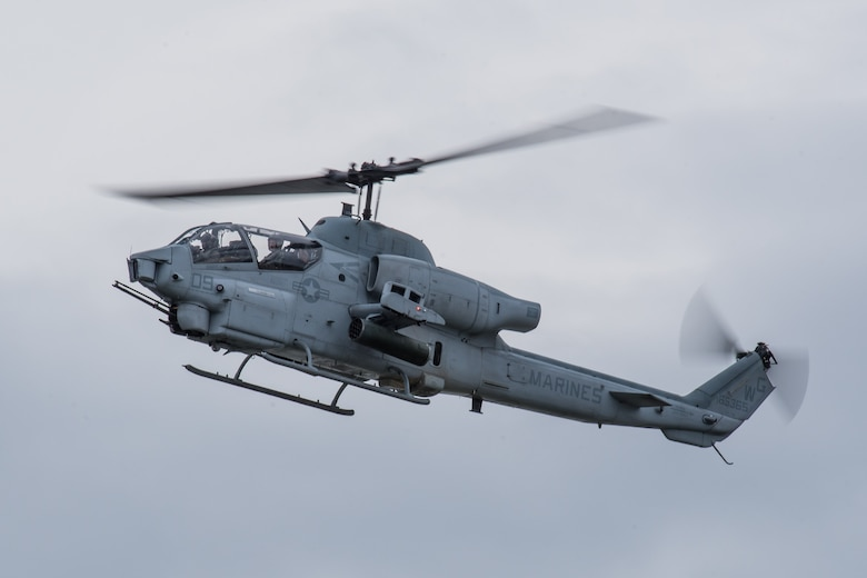 An AH-1W Super Cobra from the U.S. Marine Corps Light Attack Helicopter Squadron 773 at Joint Base McGuire-Dix-Lakehurst, N.J., performs an aerial demonstration during the Thunder Over Louisville airshow in Louisville, Ky., April 13, 2019. The Kentucky Air National Guard once again served as the base of operations for military aircraft participating in the annual event, which has grown to become one of the largest single-day air shows in North America. (U.S. Air National Guard photo by Dale Greer)