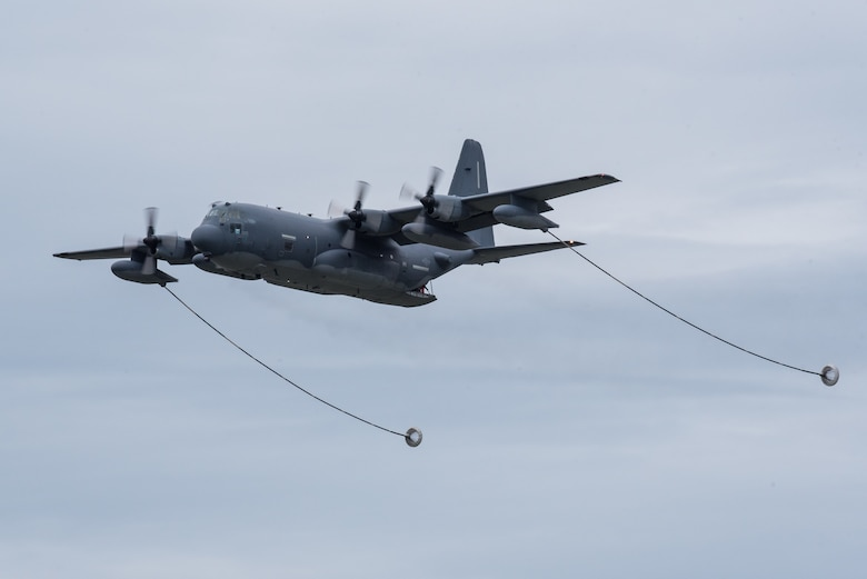 A U.S. Air Force HC-130 Hercules aircraft from Patrick Air Force Base Florida, deploys its refueling drogues over the Ohio River during the Thunder Over Louisville airshow in Louisville, Ky., April 13, 2019. The Kentucky Air National Guard once again served as the base of operations for military aircraft participating in the annual event, which has grown to become one of the largest single-day air shows in North America. (U.S. Air National Guard photo by Dale Greer)