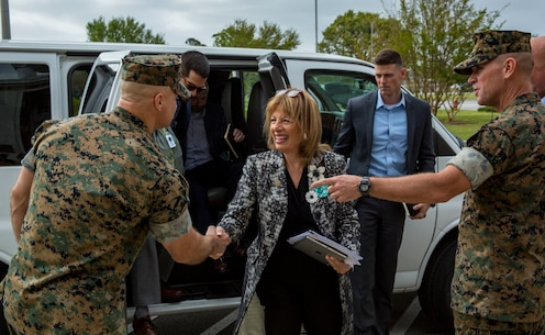U.S. Marine Corps Sgt. Maj. Charles A. Metzger, left in uniform, sergeant major, Marine Corps Installations East-Marine Corps Base Camp Lejeune and Col. Scott A. Baldwin, right in uniform, deputy commander, MCIEAST-MCB Camp Lejeune greet Congresswoman Jackie Speier, U.S. Representative for California's 14th congressional district, at John A. Lejeune Hall on MCB Camp Lejeune, N.C., April 12, 2019. Speier visit MCB Camp Lejeune to meet with spouses, service members and senior leaders to gain insight on key military personnel issues, to include preventative measures taken against sexual assault and domestic violence. (U.S. Marine Corps photo by Lance Cpl. Isaiah Gomez)