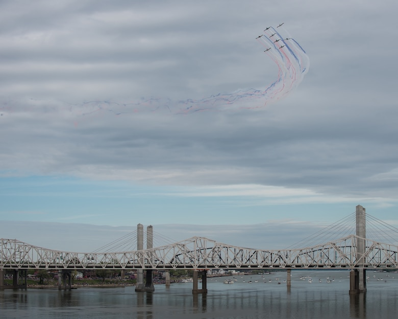 RV-4 pilots with the KC Flight Team perform an aerial demonstration during the Thunder Over Louisville airshow in Louisville, Ky., April 13, 2019. The Kentucky Air National Guard once again served as the base of operations for military aircraft participating in the annual event, which has grown to become one of the largest single-day air shows in North America. (U.S. Air National Guard photo by Dale Greer)