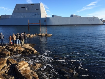 151207-N-ZZ999-001  KENNEBEC RIVER (Dec. 7, 2015) The future USS Zumwalt (DDG 1000) is underway for the first time conducting at-sea tests and trials on the Kennebeck River. The multimission ship will provide independent forward presence and deterrence, support special operations forces, and operate as an integral part of joint and combined expeditionary forces. (U.S. Navy photo /Released)