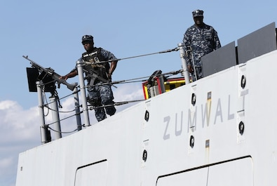 Zumwalt Sailors on watch in Newport