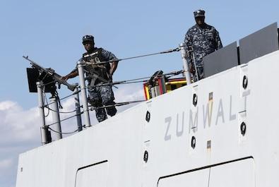 Zumwalt Sailors on watch in Newport