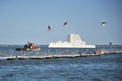 USS Zumwalt's arrival at Norfolk for testing and evaluation before commissioning.