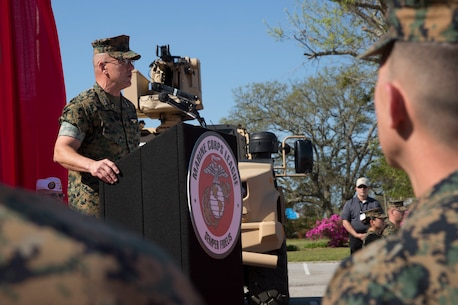 Lieutenant General Robert F. Hedelund, II Marine Expeditionary Force commanding general, delivers opening remarks during Marine South Expo 19 at Camp Lejeune, N.C., April 11, 2019. Marine South is an annual military exposition that provides a first-hand look at the latest technology, products and prototypes from the world's leading defense equipment manufacturers. The products showcased during the event are aimed toward preparing Marines to overcome the challenges of the modern battlefield. The expo is sponsored by the Marine Corps League, a Marine Corps veterans' association, and co-sponsored by Marine Corps Base Camp Lejeune. (U.S. Marine Corps photo by Cpl. Leynard Kyle Plazo)