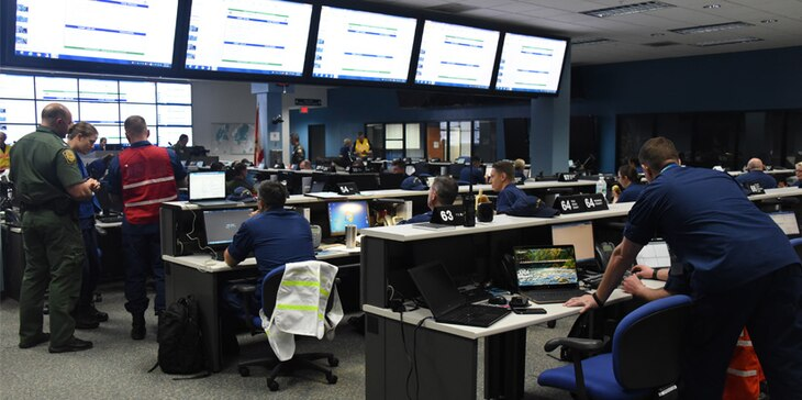 The Coast Guard and member of multiple partner agencies participate in Integrated Advance 2019 exercise at the Miami-Dade County Emergency Operations Center, April 12, 2019.