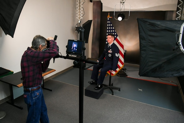 Technical Sgt. Justin Goodwin, 368th Recruiting Squadron, during an official portrait session with base photographer Todd Cromar April 16, 2019, at Hill Air Force Base, Utah. Photo studio appointments at Hill AFB are now booked online at www.hill.af.mil. (U.S. Air Force by Cynthia Griggs)
