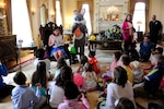 Families of deployed Colorado National Guard members were hosted at the Governor's Mansion, Denver, Mar. 12, 2016. The children played a variety of games, along with an Easter egg hunt, and were read to by The First Lady of Colorado, Mrs. Robin Hickenlooper, wife of Gov. John Hickenlooper. The Adjutant General of Colorado Maj. Gen. H. Michael Edwards along with other CONG senior leaders were in attendance to show support for the Soldiers and Airmen separated from their families in support of overseas contingency operations. (U.S. Air National Guard photo by Tech. Sgt. Nicole Manzanares/Released)