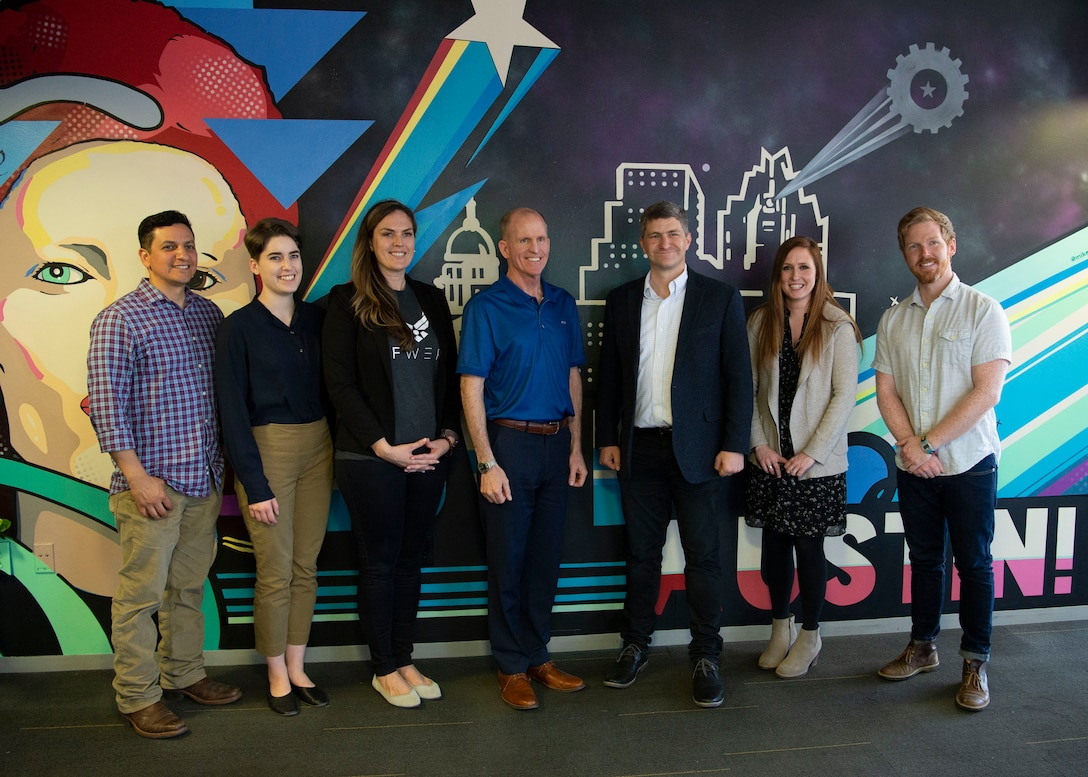 Air Force Vice Chief of Staff Gen. Stephen W. Wilson poses with AFWERX, Capital Factory and Air Force personnel  at AFWERX in Austin, Texas April 9, 2019.