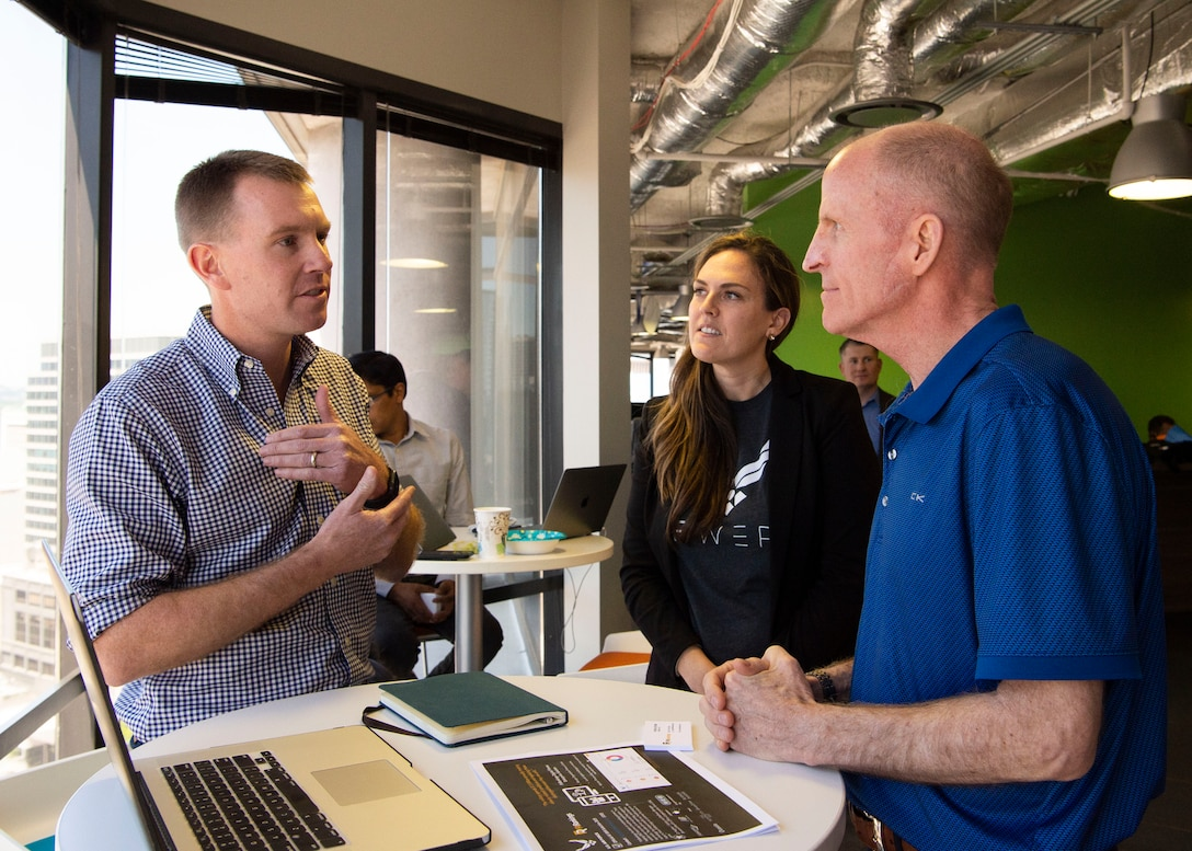 Air Force Vice Chief of Staff Gen. Stephen W. Wilson talks with Patrick Hitchens, Founder and CEO of FitRankings at Capital Factory in Austin, Texas April 9, 2019.