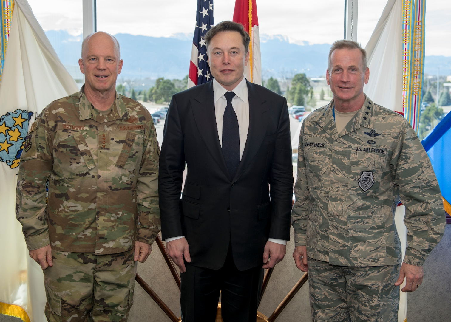 SpaceX CEO Elon Musk (center), the Commander, Air Force Space Command, and Joint Force Space Component Commander, Gen. Jay Raymond (left), and the Commander of the North American Aerospace Defense Command and U.S. Northern Command, U.S. Air Force General Terrence J. O'Shaughnessy pose for a photo in the command's headquarters in Colorado Springs, Colorado, April 15, 2019. During Musk's visit, he participated in conversations and round table briefings about future space operations and homeland defense innovation.