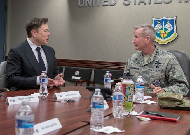 SpaceX CEO Elon Musk discusses U.S. space operations with U.S. Air Force General Terrence O'Shaughnessy, the Commander of the North American Aerospace Defense Command and U.S. Northern Command, April 15, 2019. During Musk's visit to Colorado Springs, Colorado he participated in conversations and round table briefings about future space operations and homeland defense innovation.