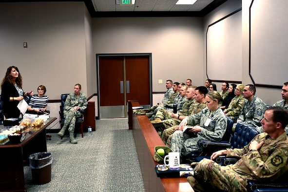 PETERSON AIR FORCE BASE, Colo. – The 21st Space Wing Sexual Assault Prevention Response team addresses a Staff Judge Advocate office sponsored Sexual Assault Awareness and Prevention symposium at Peterson Air Force Base, Colorado on April 4, 2019. The symposium was attended by 21st Space Wing command leadership, superintendents and supervisors. (U.S. Air Force photo by Cameron Hunt)