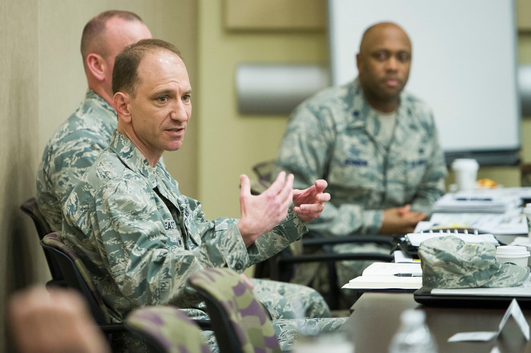 Col. Kevin M. Eastland, Air Force District of Washington vice commander, answers questions during the 2019 AFDW Squadron Commanders Course at Joint Base Andrews, Md., April 15, 2019. (U.S. Air Force photo by Master Sgt. Michael B. Keller)