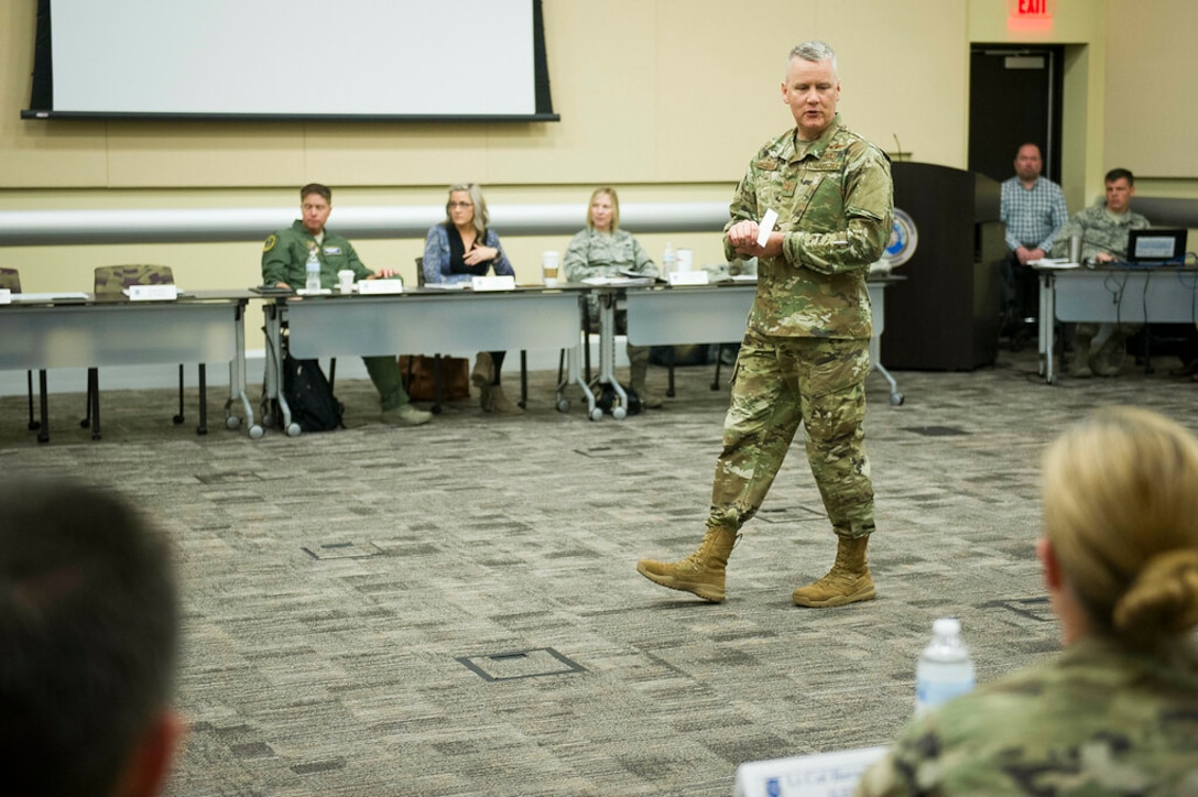 Maj. Gen. James A. Jacobson, Air Force District of Washington commander, speaks to newly selected squadron commanders and spouses during the 2019 AFDW Squadron Commanders and Spouses Course at Joint Base Andrews, Maryland, April 15, 2019. (U.S. Air Force photo by Master Sgt. Michael B. Keller)