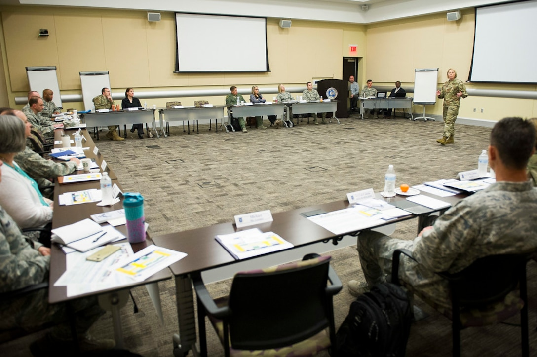 Chief Master Sgt. Melanie K. Noel, Air Force District of Washington command chief, gives opening remarks during the 2019 AFDW Squadron Commanders Course in the Gen. Jacob E. Smart Conference Center at Joint Base Andrews, Maryland, April 15, 2019. (U.S. Air Force photo by Master Sgt. Michael B. Keller)