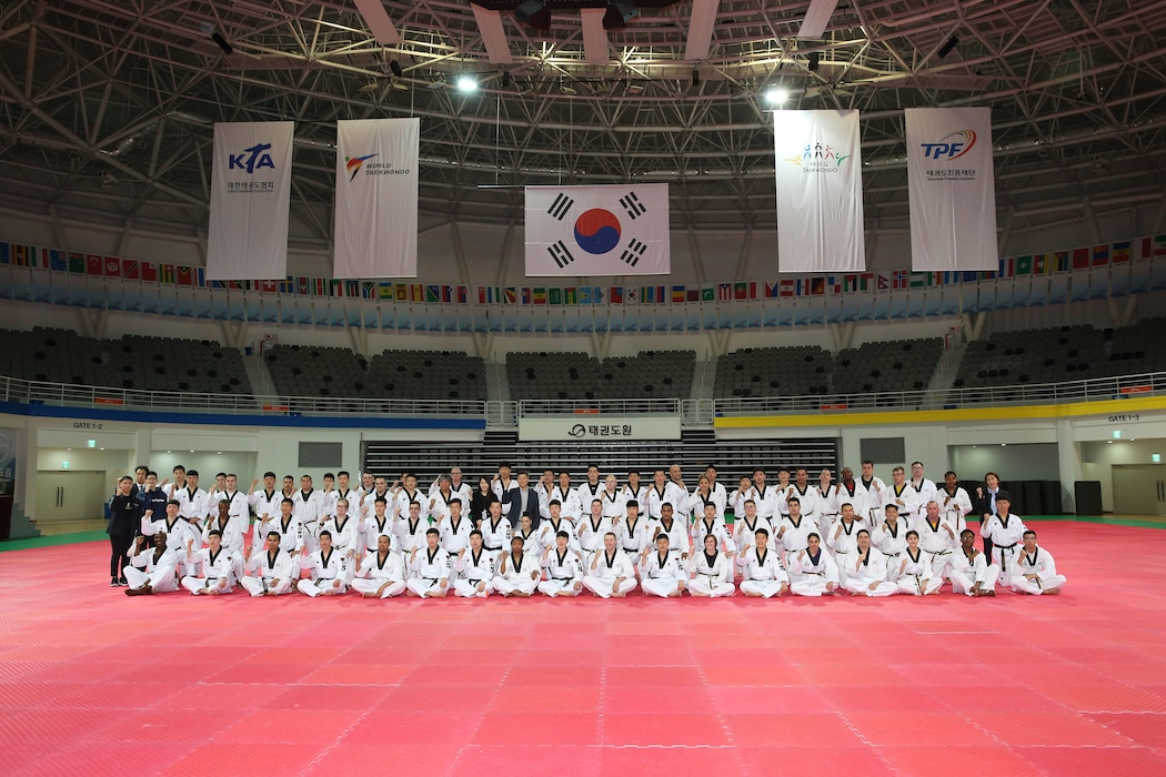 The Republic of Korea (ROK), Ministry of National Defense hosted a Taekwondo Camp for U.S. Forces Korea (USFK) personnel and the ROK Army Taekwondo team at Taekwondowon, Muju, South Korea, April 9-11.