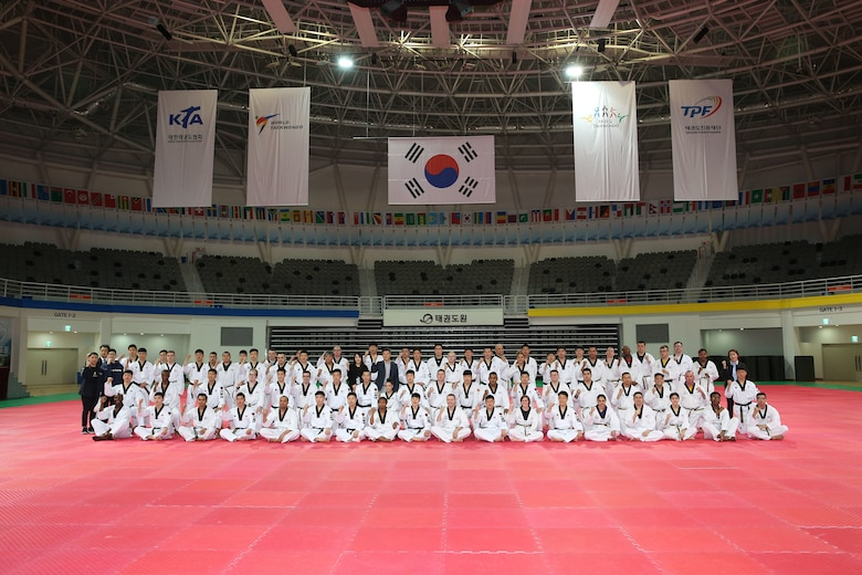 The Republic of Korea (ROK), Ministry of National Defense hosted a Taekwondo Camp for U.S. Forces Korea (USFK) personnel and the ROK Army Taekwondo team at Taekwondowon, Muju, South Korea, April 9-11.