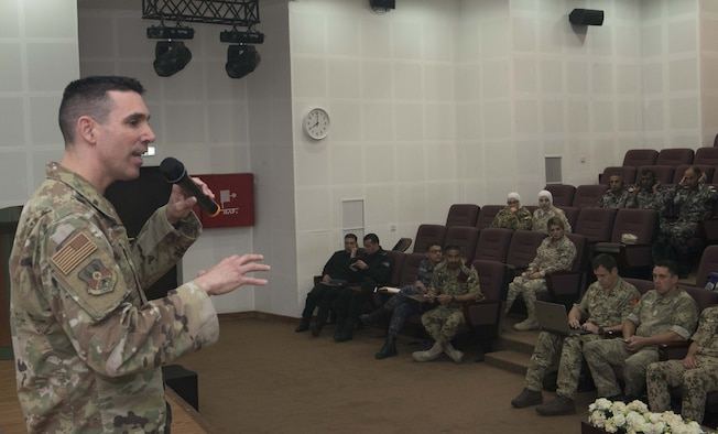 A photo of Chief Master Sgt. Shawn Drinkard giving a speech to enlisted leaders from around the world.
