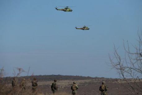 Romanian soldiers with the 341st Infantry Battalion rehearse air-support operations with IAR 330L Pumas, along with U.S. Marines with Special Purpose Marine Air-Ground Task Force-Crisis Response-Africa 19.1, Marine Forces Europe and Africa, during Platinum Eagle 19.1, a multilateral training exercise held at Babadag Training Area, Romania, March 19, 2019. SPMAGTF-CR-AF is deployed to conduct crisis-response and theater-security operations in Africa and promote regional stability by conducting military-to-military training exercises throughout Europe and Africa. (U.S. Marine Corps photo by 1st Lt. Christin St. John)