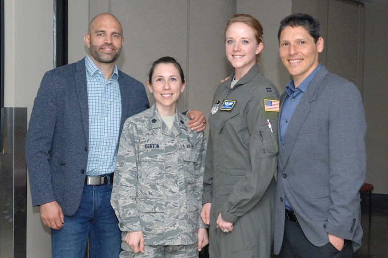 (Left to right) James Wilks, producer of The Game Changers, Lt. Col. Amanda Denton, nutritional medicine flight commander, Dr. Capt. Regan Stiegman, U.S. Air Force Academy flight surgeon, and David Goldman, dietician and scientific advisor, pose for a photo following the screening of The Game Changers, April 4, 2019, at the Wright-Patterson Medical Center, Ohio. The evidence-based documentary about plant-based eating for performance nutrition and health was shown as a continuing education opportunity for 88 MDG staff members. (Courtesy photo)