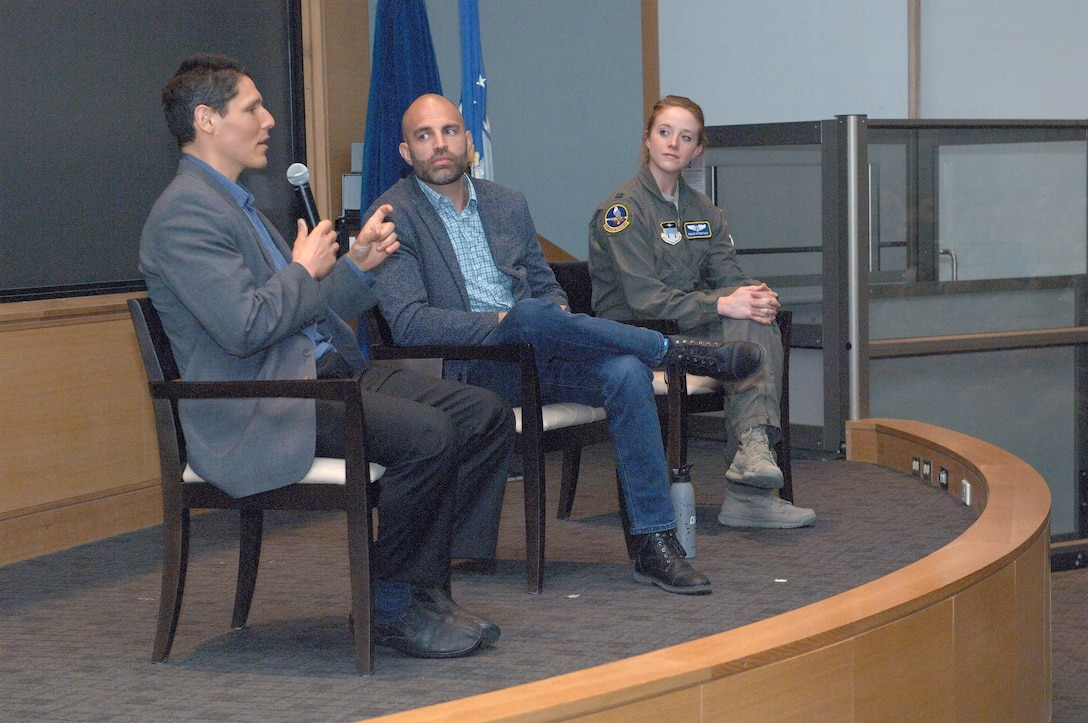 David Goldman, (left) dietician and scientific advisor, James Wilks, (center) producer, and Dr. Capt. Regan Stiegman, U.S. Air Force Academy flight surgeon, answer questions of 88th medical group personnel following the screening of The Game Changers, April 4, 2019, at the Wright-Patterson Medical Center, Ohio. The evidence-based documentary about plant-based eating for performance nutrition and health was shown as a continuing education opportunity for 88 MDG staff members. (Courtesy photo)