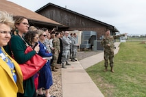 U.S. Air Force Tech. Sgt. gives speech to crowd.