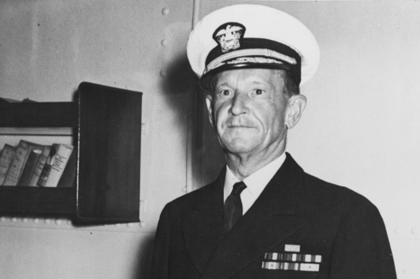 Navy Vice Adm. Frank Jack Fletcher poses aboard a ship.