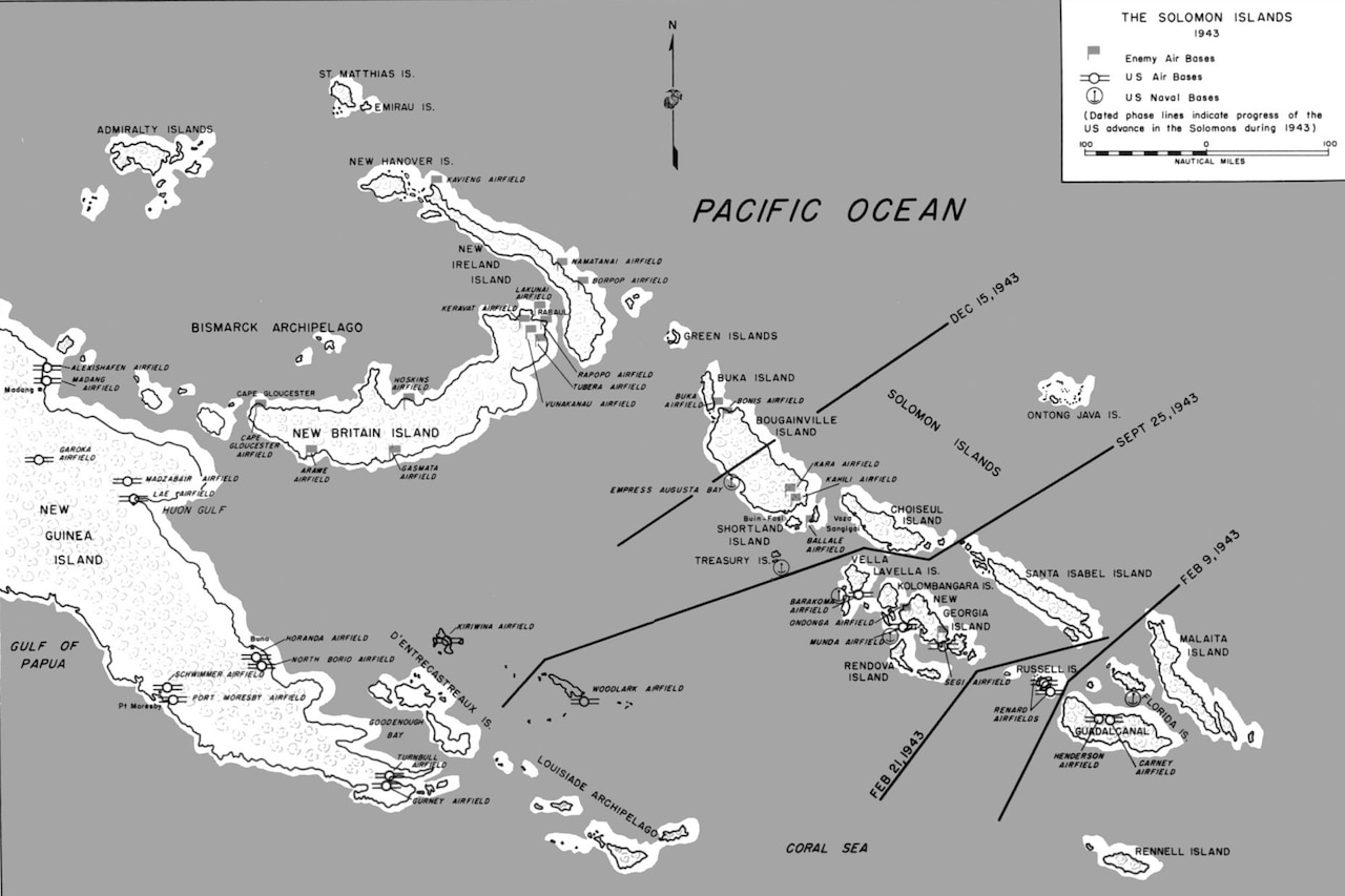 Map of Solomon Islands showing the Allied advance during World War II