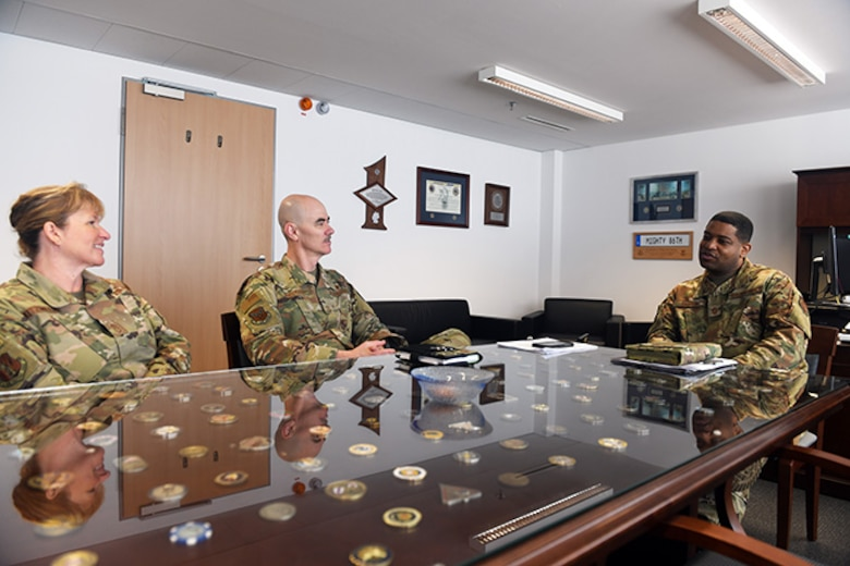Chief Master Sgt. Ronald Anderson, Air National Guard command chief and Chief MSgt. Lorene Kitzmiller, ANG first sergeant functional,  met with Chief Master Sgt. Phillip L. Easton, U.S. Air Forces Europe and U.S. Air Forces Africa command chief master sergeant, at USAFE headquarters, Ramstein Air Base, Germany, April 15, 2019, in efforts to expand ANG enlisted influence throughout the U.S. Air Force.