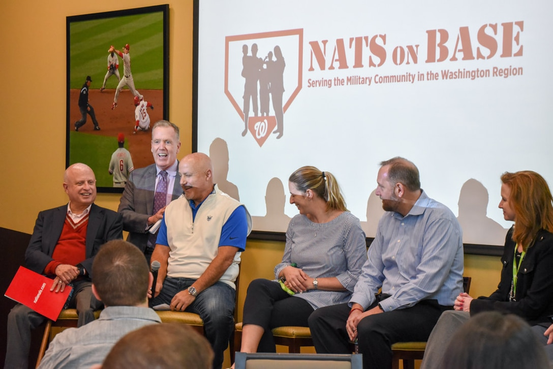 Gregory McCarthy, senior vice president, community engagement for the Washington Nationals, introduces members of the leadership panel to incoming Air Force District of Washington commanders and their spouses at Nationals Park, Washington, Aug. 16. The panel is part of AFDW's week-long Squadron Commanders and Spouses Course. (U.S. Air Force photo by 2d Lt Jessica Cicchetto)
