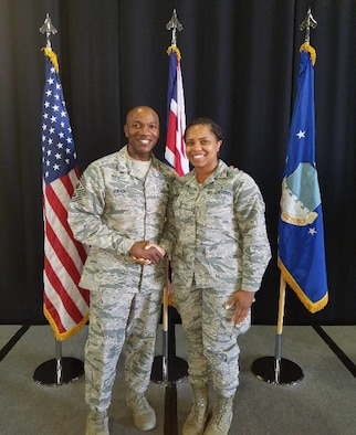 Senior Airman Erika Watson meets Chief Master Sgt. Kaleth O. Wright, Chief Master Sgt. of the Air Force. (Courtesy Photo)