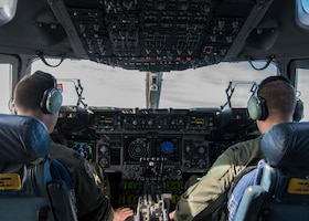 Capt. Jeffrey Anderson and Capt. Jeremiah Brown, 89th Airlift Squadron pilots, operate a C-17 Globemaster III, assigned to Wright-Patterson Air Force Base, Ohio, during exercise Patriot Hook 2019, April 11, 2019, at Vandenberg Air Force Base, Calif. The C-17 is operated by a three-man crew, consisting of a pilot, co-pilot and loadmaster to reduce manpower requirements, risk exposure and long-term operating costs. (U.S. Air Force photo by Airman 1st Class Aubree Milks)