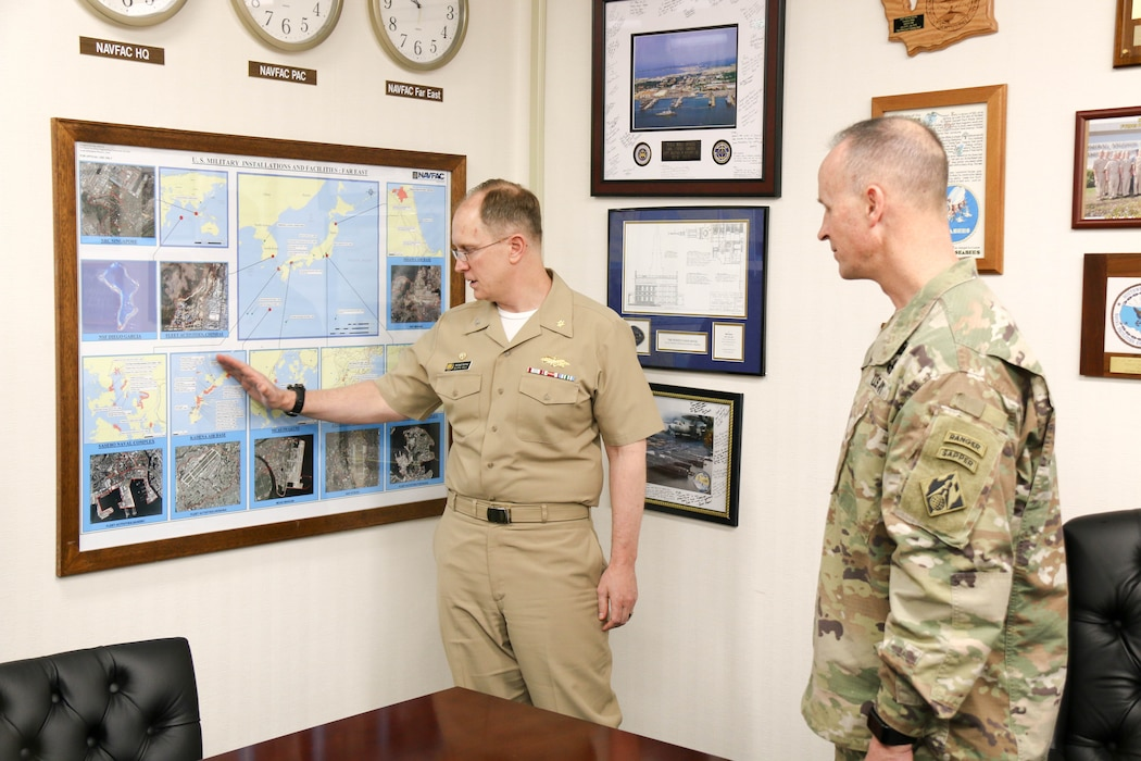 USACE Deputy Commanding General Maj. Gen. Michael C. Wehr meets with Naval Facilities Far East Commander Capt. Michael D. Kenney, Jr. during his visit to the Yokosuka Resident Office.