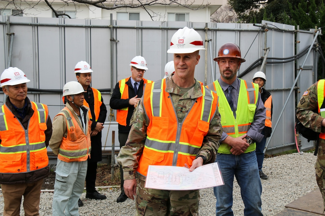 USACE Deputy Commanding General Maj. Gen. Michael C. Wehr looks around the under construction Yokosuka Child Development Center.