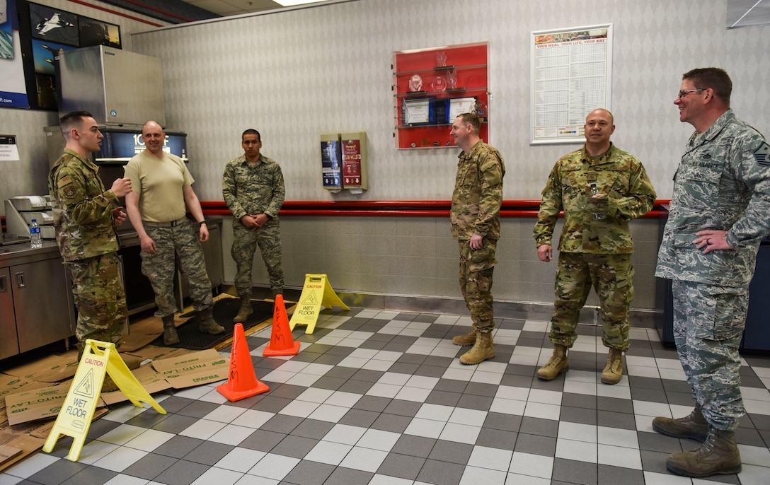 Airmen from the 176th Civil Engineer Squadron, Joint Base Elmendorf-Richardson, Alaska, and the 8th Civil Engineer Squadron brief senior non-commissioned officers from the 176th CES on the status of a plumbing issue at Kunsan Air Base, Republic of Korea, April 17, 2019. 176th CES members worked side-by-side with 8th CES personnel to resolve issues and make improvements across the installation. (U.S. Air Force photo by Senior Airman Stefan Alvarez)