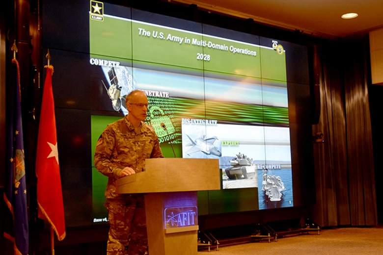 Brigadier General Mark Odom, Director of the Concepts, Futures and Concepts Center, Army Futures Command, stressed the importance of a joint operational understanding to be successful in Multi-Domain Operations. (U.S. Air Force photo/Katie Scott)