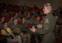 Brig. Gen. Jeannie Leavitt, commander of Air Force Recruiting Service, speaks to an audience at the Breaking Barriers event April 10, 2019, in the Fleenor Auditorium, JBSA-Randolph, about her Air Force career and leadership qualities. The purpose of this event was to provide an opportunity for the JBSA community to hear, ask questions and learn from a leader like Brig. Gen. Leavitt as she shares her story as the first female fighter pilot and the first woman to command an Air Force combat fighter wing and talks about effective leadership practices in the Air Force. (U.S. Air Force photo by: Airman 1st Class Shelby Pruitt)